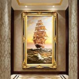 DIY Diamond Painting Kits Talla Grande,Navegación surf Pintura de Diamante 5D Completo Set Crystal Rhinestone bordado de punto de cruz artes manualidades for Home Wall Decor Gifts Square Drill-24x48in