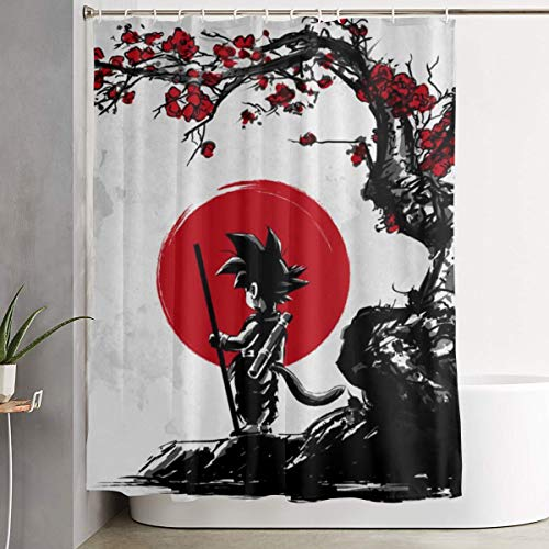 PKLUAS Kreative moderne schimmelresistente Dragon-Ball-Duschvorhänge Druck dekoratives Badezimmer mit Haken 152,4 x 182,9 cm