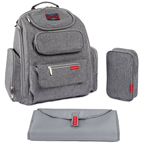 Bag Nation Diaper Bag Backpack with Stroller Straps, Changing Pad and Sundry Bag - Grey