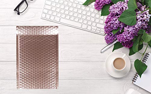 AMZ Bubble Mailers 5 x 9 Pack of 10 Rose Gold Padded Envelopes 5x9. Self-Adhesive Closure. Metallic Shipping Bags for Mailing, Packaging #00 10 Pack Photo #4