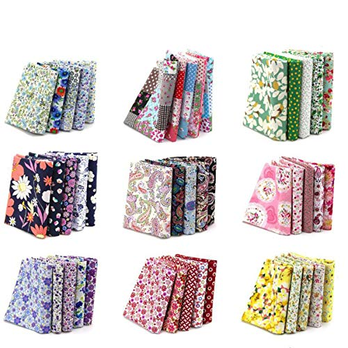 "4"" x 4"" (10cmx10cm) 100PCS BcPowr Craft Fabric, Craft Patchwork Bundle Top Cotton Fabric Squares Lint DIY Sewing Scrapbooking Quilting Dot Pattern Artcraft"