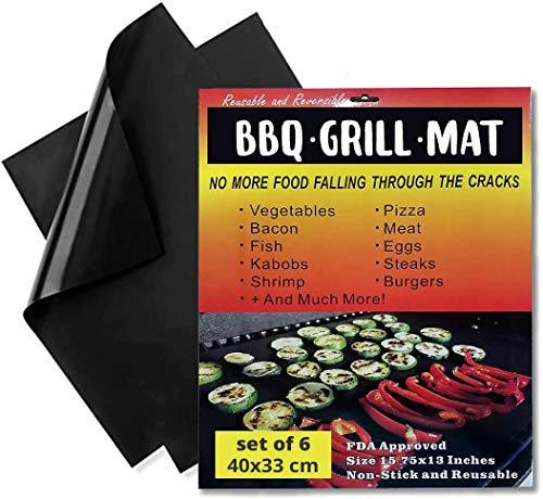 Tappetino per barbecue, forno, grill, bistecchiera - set 6 pezzi - f.to 40x33 cm. - antiaderente e riutilizzabile – certificazione LFGB e FDA - confezione piatta