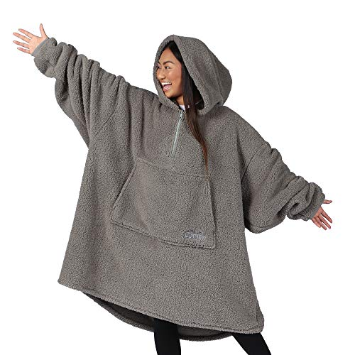 THE COMFY Teddy Bear Quarter Zip | Oversized Sherpa Wearable Blanket with Zipper, One Size Fits All, Seen On Shark Tank, Gray