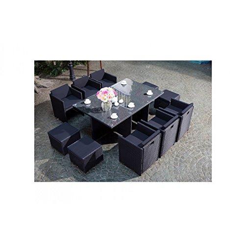 JFB Le Vito : Salon Jardin Noir encastrable en résine 10 Personnes
