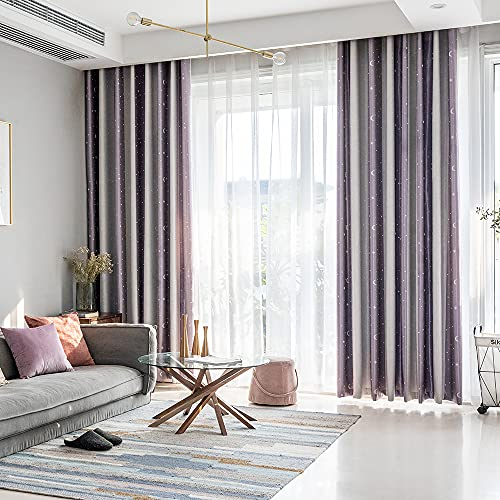 Blackout Curtains Star Moon Embroidery Splicing Window Curtain Grommet Top Treatment Insulated Drapes for Bedroom Decor Living Room Darkening Curtains 2 Panels, Lavender,52Wx84L in