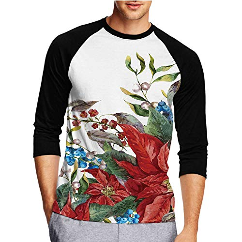 Christmas Floral Greeting Card with Blue Berries,Men's Shirt 3/4 Sleeve Casual Tops Tee S-XXL Poinsettia.Botan