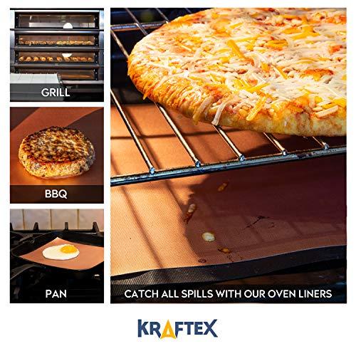 Kraftex Copper Grill Mats LARGE 4 Pack. Non Stick Teflon Fibre for BBQs, Outdoor Grills, Gas, Ovens & Baking. [FDA…