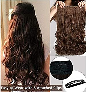 Pema Hair Extensions And Wigs Women's Girl's Clip In Wavy/Curly Hair Extension (Natural Brown)