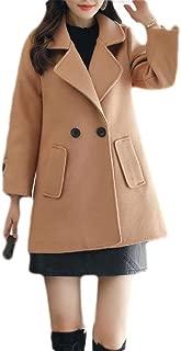 Macondoo Women's Lapel Double Breasted Woolen Overcoat Winter Pea Coat Jacket