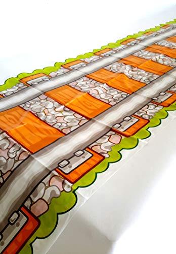 Tren Pista camino de funda para mesa de fiesta, mantel, funda para mesa de plástico reutilizable para niños partes L86'x W17' pulgadas, por Playscene