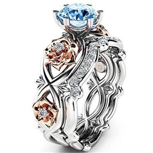 Juego de diamantes de cristal con piedras preciosas, anillo de rosa para mujer, anillo de compromiso vintage, anillo de boda para mujer, color azul