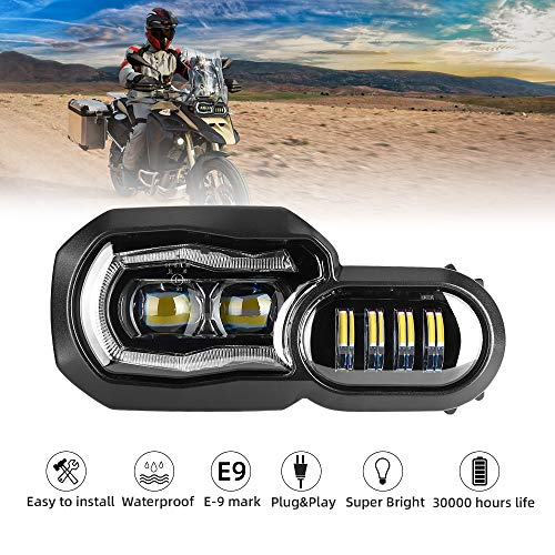 LED Scheinwerfer für Motorrad mit Angel Eyes DRL Montage, E-Mark E-Prüfzeichen, wasserdicht DC12-24 V Scheinwerfer für F650GS F800GS F700GS F800GS ADV F800R
