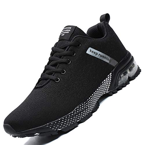 Zeoku Mens Running Shoes Fashion Breathable Air Cushion Sneakers Lightweight Tennis Sport Casual Walking Athletic for Men Outdoor Jogging Shoes(Black,11)