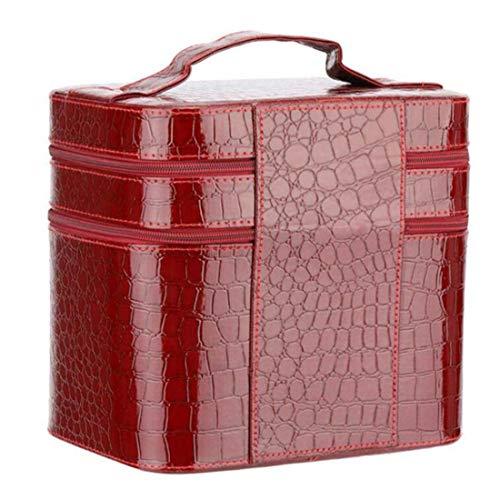TYBSTA Estuche cosmético de PU Bolsa de cosméticos portátil Bolsa de cosméticos de Gran Capacidad Doble Capa de Gran Capacidad Vino Tinto
