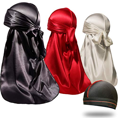 ForceWave 4 Pieces Silky Durags and Wave Cap Pack for Men Waves, Moisture-Tech Fabric Satin Du-Rag