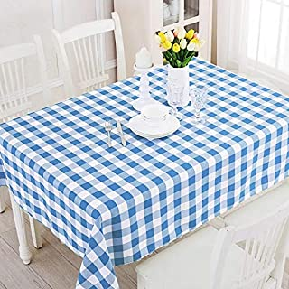 Blue White Gingham Checkered Polyester Waterproof Tablecloth 60 Inch. x 84 Inch. Rectangle Table Cover Heavy Duty Party Picnic Outdoor Beach