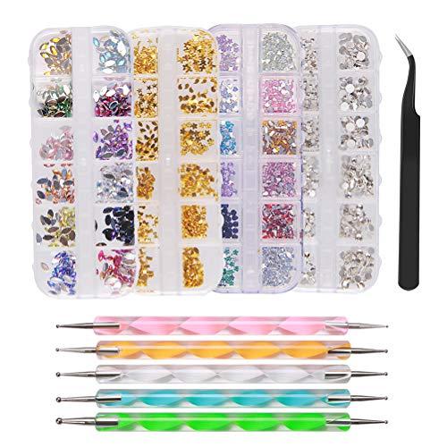 Nagel Kunst Strasssteine mit Dotting Tools, 3D Edelsteine, Diamant für Nail Art, Nägel Dekorationen mit Pinzette