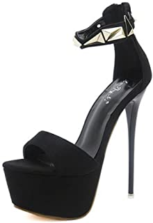 LaBiTi Womens Peep Toe Ankle Strap Buckle Espadrille Platform Wedge Heel Sandals Pump