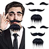 2 PCS Costume Facial Hair,Self Adhesive Fake Mustache Set,Face Mustaches Bulk with Eyebrow for Party Supplies,Masquerade and Performance Black