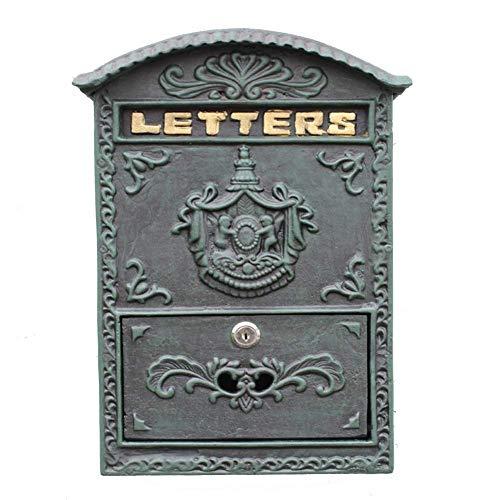 ZYLE Montado en la Pared Carta Cuadro de Yeso Poste de Hierro Caja Oscura Retro Verde Caja Decorativa periódico publicación en el Muro Exterior