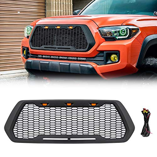 VZ4X4 Black Grill Mesh Grille, Compatible with Toyota Tacoma 2016-2020, Not Fit Truck with Radar Behind the Badge