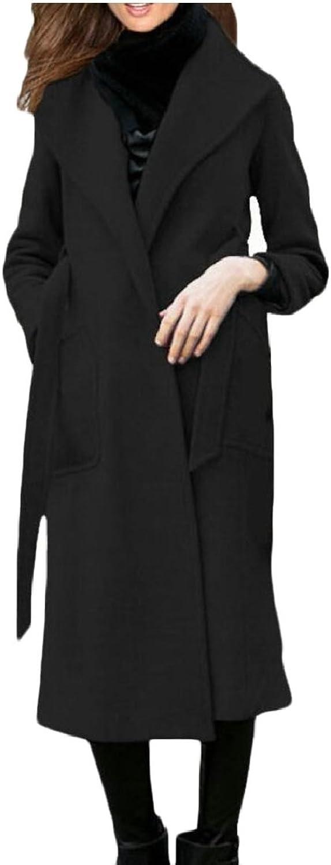 LEISHOP Women's Lapel Wool Blend Winter Fall Warm Coat Overcoats