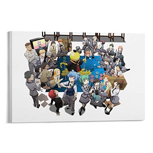 GHJH Póster de anime de Japón de 8 Assassination Classroom A Japón para decoración de pared, lienzo artístico de acuarela para dormitorio de niños, 60 x 90 cm