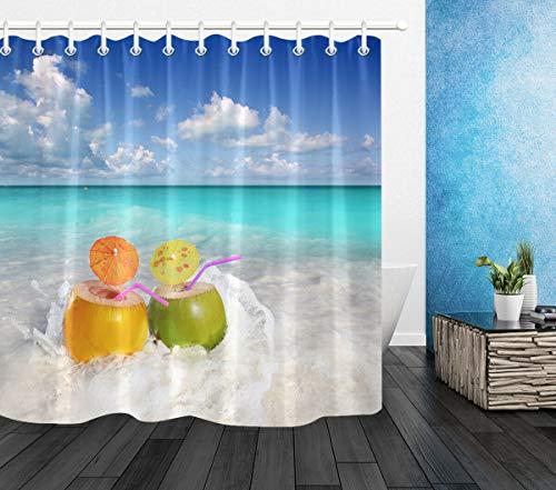 xuelizhou Cool zomer strand kokosnoot sap douchegordijn badkamer duurzame stof meeldauw badkamer hanger creatief met 12 haken 180X180CM