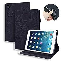 カーフレザー型押しレザーケースiPad 2 3 4 用 タブレットカバー iPad 9.7インチ Apple iPad 2/ iPad 3/ iPad 4 ケースフリップ スタンドシェルカバー (ブラック)