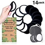 Green Estate Reusable Makeup Remover Pads – 14 Pack With Laundry Bag – Two Tone Microfiber – Black Side For...