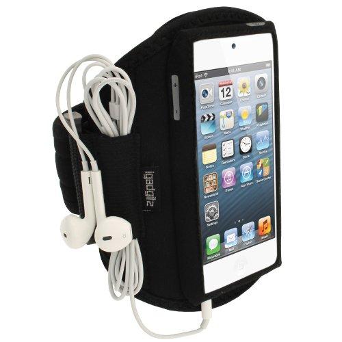 iGadgitz U1993 Wasserabweisen Neopren Armband Kompatibel mit Apple iPod Touch 5/6/7th Gen -Schwarz