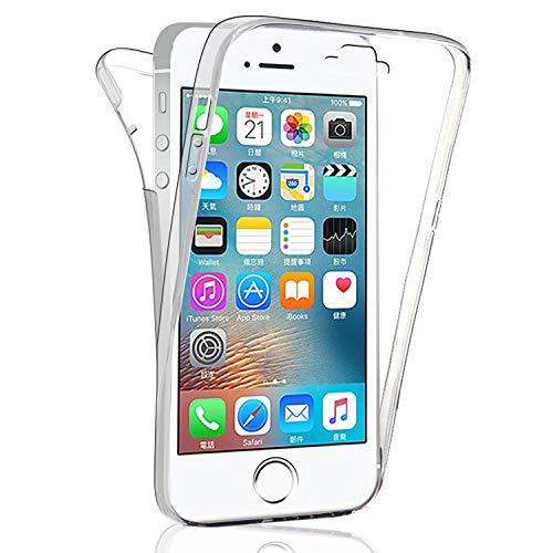 HongMan 360°Full Body Funda para Apple iPhone 7 Plus / 8 Plus, Ultra Slim Doble Cara Carcasa Protector Transparente TPU Silicona + PC Dura Resistente Anti-Arañazos Protectora Case Cover