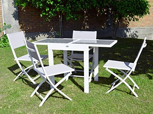 Scaramuzza Modo Tavolo allungabile cm 65-130 + 4 Sedie Pieghevoli in Alluminio Colore Bianco Set Pranzo Salvaspazio per Esterno Giardino Terrazzo Balcone