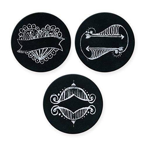 Cosmo Cricket Show Topper Jar Deckel Einsatz-Set, Kreide Print, 3er Pack