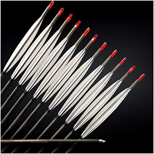 YC° Flechas de Carbono de Tiro con Arco, 12 Paquete de 93,5 cm / 36.8 Pulgadas Flechas de Caza 400 PUBLIada de la Columna Vertebral de la Espina de Las Flechas para la Distancia de Gran Dibujo