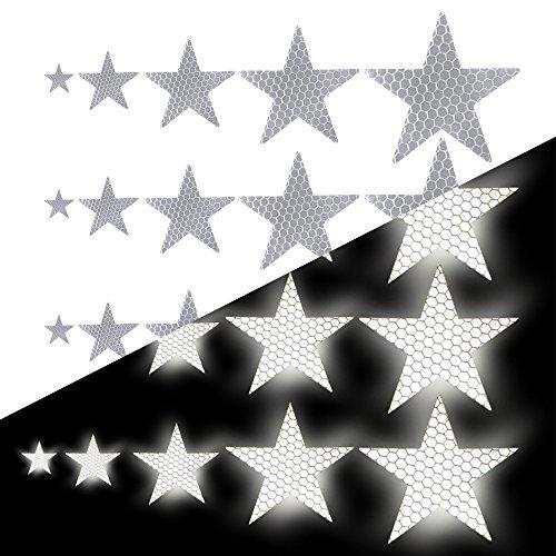 Tuqiang Sternform Reflektierendes Klebeband Wasserdicht Selbstklebend Für Buggy und Kinderwagen Motorradhelm Hohe Sichtbarkeit Band Sicherheit im Freien Reflektierend Aufkleber 25 Stück Weiß