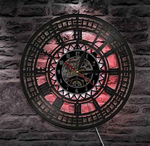 Hohle 7 Farben LED Licht mysteriöse nordische Magie Wanddekoration für Wohnzimmer Wikinger Kompass Wanduhr Vintage Schwarz hängende Vinyl-Schallplatten Wanduhren