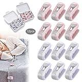 JEEZAO 12 Stück Bettdeckenbezug-Clips,Bettlakenhalter, Prevent Bunching & Shifting,Wäscheklammern (Lila + Pink)