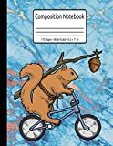 Funny Squirrel Acorn Birdfeeder Bicycle Composition Notebook Wide Ruled 110 Pages 8.5 x 11 In: Squirrel Books For Children