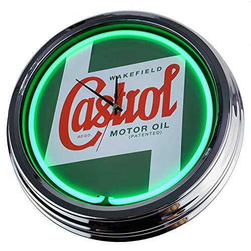 Neon Uhr Castrol Wanduhr Deko-Uhr Leuchtuhr USA 50's Style Retro Neonuhr Esszimmer Küche Wohnzimmer Büro (Grün)