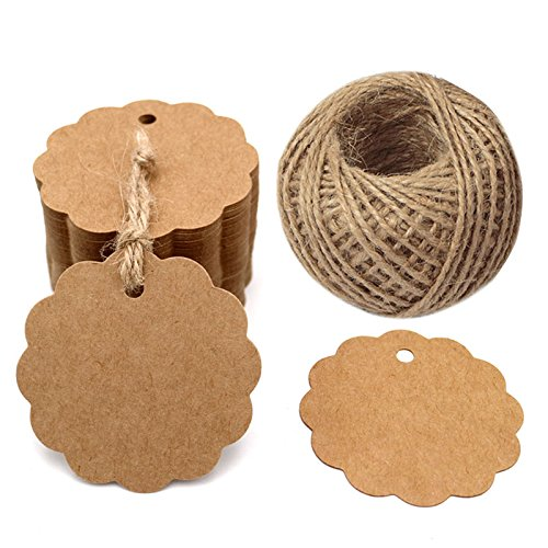 100PCS Brown Craft Scalloped Paper Gift