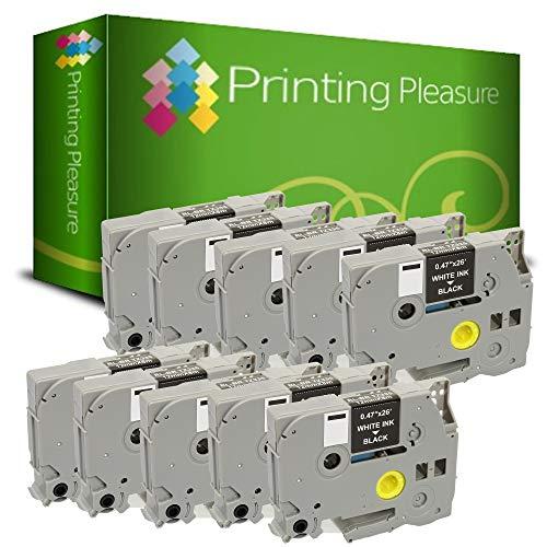 Printing Pleasure 10 x TZe-335 TZ-335 Bianco su Nero Nastro laminato compatibile per BrotherP-Touch Stampanti per etichette | 12mm x 8m
