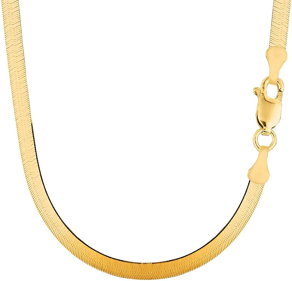 14k Solid Yellow Gold 5.00mm Shiny Imperial Herringbone Chain Necklace or Bracelet for Pendants and Charms with Lobster-Claw Clasp (7
