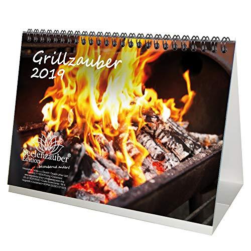 Grillmagie · DIN A5 · Premium tafelkalender/kalender 2019 · grillen · grill · kampvuur · steak · worst · gezelligheid · tuin · set met 1 wenskaart en 1 kerstkaart · Edition Zelmagie
