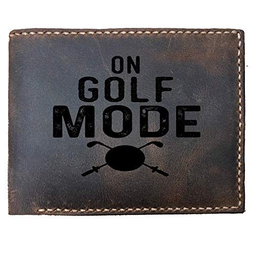 Lobsteray Best Humorous Custom Laser Engraved Leather Bifold Wallet for Men On Golf Mode Custom Laser Engraved Leather Bifold Wallet for Men Funny Golfer Gifts