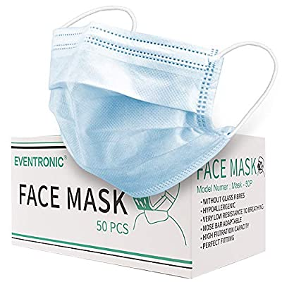 Face Mask, Eventronic Face Mask Cover, Disposable Mask, Comfortable and Breathable.(50 PCS, Blue)