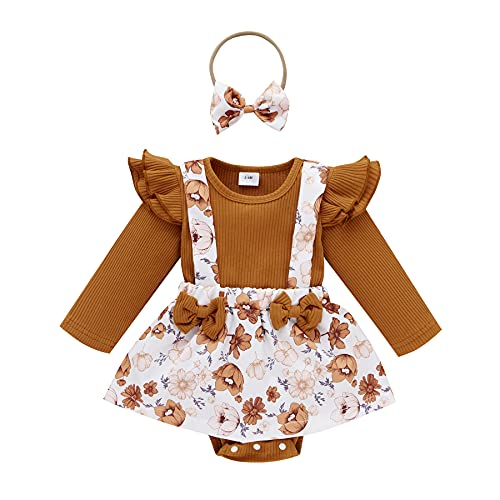 Infant Baby Girl Floral Romper Dress with Headband Outfits Long Sleeve Knit Bodysuit Overall Tutu Skirt Fall Winter Clothes (Brown Floral, 0-3 Months)