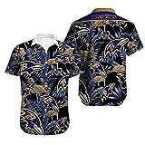 メンズTシャツポロシャツアンダー - NFLボルティモア・レイブンズ3Dは夏の半袖トップスハワイティーンシャツTシャツのカジュアルを印刷(ギフト) A-XL