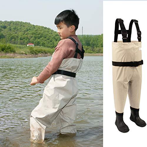 NEYGUアウトドア子ども用単色フィッシングチェストウェーダー胴付長靴強力防水通気ユニセックス可(カーキ,2T)