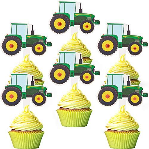 56 Stücke Traktor Cupcake Toppers LKW Autos Cupcake Picks BAU Party Cupcake Toppers für Babyparty Farm Motto Parteien Traktor Zeit Party Lieferungen